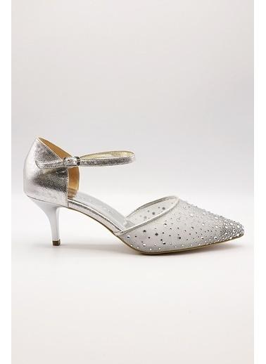 La scada Mr5285 Platın Kadın Abıye Ayakkabı Gri